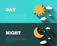 Sun, luna y estrellas, se nubla iconos Día y noche bann del vector del cielo Fotografía de archivo libre de regalías