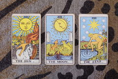 Sun, lune, cartes de tarot d'étoile Photo stock