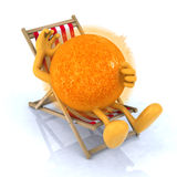 Sun lying on beach chair Stock Image