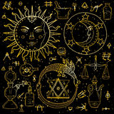 The Sun måne, Ouroboros och filosofisk sten med annan alch royaltyfri illustrationer