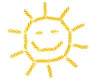 Sun made from italian fusilli pasta isolated Royalty Free Stock Image