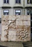 Sun and man sculpture in Lisbon royalty free stock photos