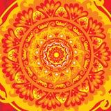 Sun mandala. Vector illustration in orange colors Royalty Free Stock Photos
