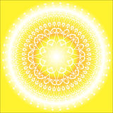 Sun Mandala. Yellow and orange mandala on the yellow background Royalty Free Stock Photography