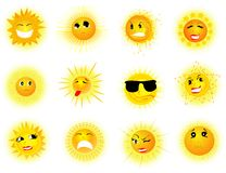 Sun with many expressions Royalty Free Stock Photo