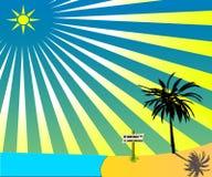 Sun, mar, areia e palmtree Ilustração Royalty Free