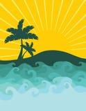 Sun, mar e palmeiras Imagens de Stock