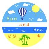 Sun, mare, spiaggia, aerostato, ancora, granchio, palme Fotografia Stock Libera da Diritti