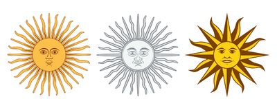 Sun of May variations, Sol de Mayo, Argentina, Uruguay. Sun of May variations. Spanish Sol de Mayo, national emblems of Uruguay and Argentina. Radiant, silver or royalty free illustration