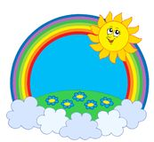 Sun and meadow in rainbow. Vector illustration Royalty Free Stock Photos