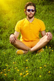 Sun meditation stock images