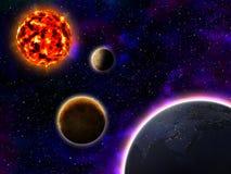 Sun Mercury Venus och jord Vektor Illustrationer