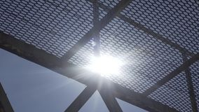 Sun Through The Metal Structure stock video footage