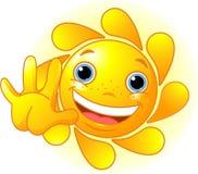 Sun mignon écartant le bonjour Images stock
