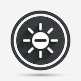 Sun minus sign icon. Heat symbol. Brightness. Sun minus sign icon. Heat symbol. Brightness button. Circle flat button with shadow and border. Vector Royalty Free Stock Image