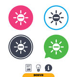 Sun minus sign icon. Heat symbol. Brightness. Sun minus sign icon. Heat symbol. Brightness button. Report document, information sign and light bulb icons Royalty Free Stock Photos