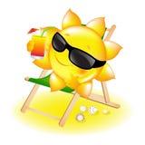 Sun mit Cocktail im Wagen-Aufenthaltsraum stock abbildung
