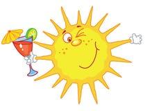 Sun mit einem Glas Stockbild