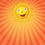 Sun mit einem Lächeln Regenbogen und Wolke auf dem blauen Himmel Stockbild
