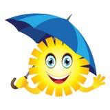 Sun mit einem Regenschirm Stockfotos