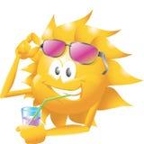 Sun mit Getränk und Gläsern Lizenzfreie Stockfotografie