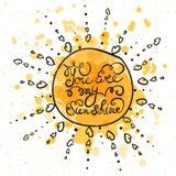 Sun mit Hand gezeichnetem Typografieplakat Lizenzfreie Stockfotos