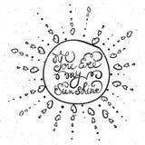 Sun mit Hand gezeichnetem Typografieplakat Stockbild