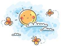 Sun mit Wolken und Schmetterlingen stock abbildung