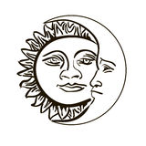 Sun and month emblem isolated over white Stock Photos