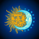 Sun, month stars Vector vintage style folklore retro Stock Photos