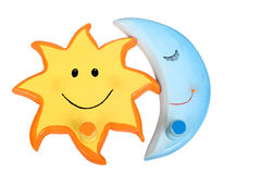 Sun and Moon. Clipart cheerful sun and moon for collage, design, children's toys Royalty Free Stock Images