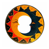 Sun and moon. Isolated included clipping path stock photography