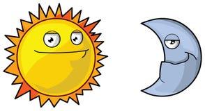 Sun and moon. Illustration on white background stock illustration