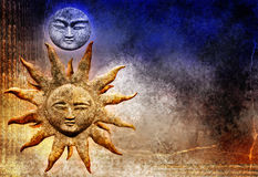 Sun and moon. Textured background of the sun and moon with blue and gold colored surface Stock Photos