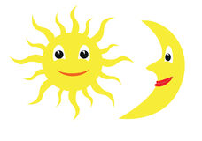 Sun and moon. Icons of the sun and moon colored illustration Stock Photography