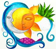 Sun and moon. Abstract illustration with sun and moon Royalty Free Stock Photos