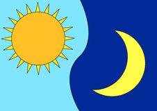 Sun & Moon. Vectorial image where represents the sun (day) and the moon (night Royalty Free Stock Image