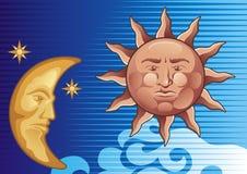 sun moon ilustracja wektor