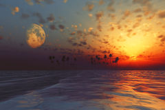 Sun and moon behind island Royalty Free Stock Photography