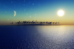 Sun and moon. Behind island with coconut palms. Elements of this image furnished by NASA Royalty Free Stock Image