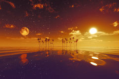 Sun and moon behind island. With coconut palms red toned image Royalty Free Stock Image