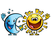 Sun and moon best friends baby cartoon characters. Shining yellow smiling sun and blue moon cartoon characters a happy day night concept image Stock Images