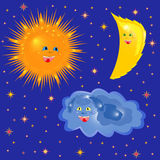Sun, Moon And Cloud On The Starry Sky Stock Images