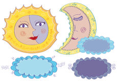 Sun, moon and clouds Stock Photography