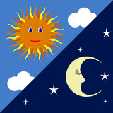 Sun and moon. Clouds and stars, night and day Stock Image