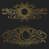 Sun and moon in the cloudy sky.  Vector hand drawn illustration. Decorative graphic design elements in oriental style Stock Images
