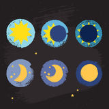 Sun moon crayon style icons