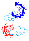 Sun and moon. Day and night. Stock Photography