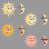 Sun and moon. Different phases of the sun and moon Stock Photo