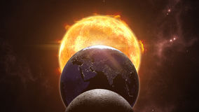 Sun, moon and earth globes. Eclips in cosmic scene. 3D rendering Royalty Free Stock Photos